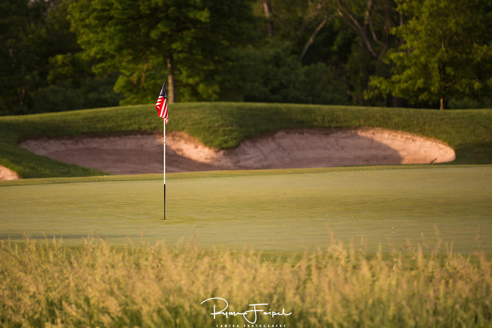 I spent Memorial Day morning shooting the local golf courses at Landsdowne Resort.   It took a while but I found some patriotic spirit on the 18th hole.