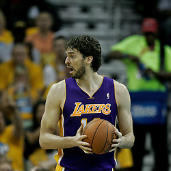 April 22, 2011; New Orleans, LA, USA; Los Angeles Lakers power forward Pau Gasol (16) against the New Orleans Hornets during the first half in game three of the first round of the 2011 NBA playoffs at the New Orleans Arena. The Lakers defeated the Hornets 100-86.   Mandatory Credit: Derick E. Hingle