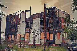 Burned out ruins of three story home in Elizabeth, New Jersey.