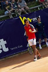 June 18, 2018 - L'Aquila, Italy - Hugo Dellien during match between Hugo Dellien (BOL) and Martin Cuevas (URU) during day 3 at the Internazionali di Tennis Citt dell'Aquila (ATP Challenger L'Aquila) in L'Aquila, Italy, on June 18, 2018. (Credit Image: © Manuel Romano/NurPhoto via ZUMA Press)