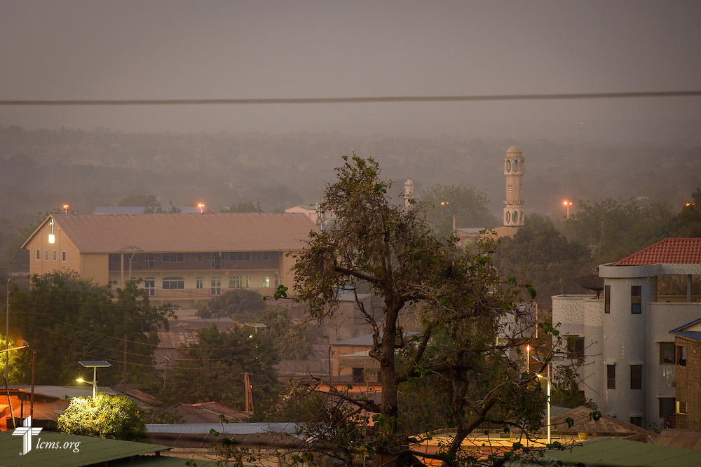 Dusk falls Monday, Feb. 13, 2017, in Dapaong, Togo. A Christian church is seen to the left, a Mosque to the right. LCMS Communications/Erik M. Lunsford