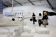 Scaled models of an Airbus A350 airliner at the Farnborough Airshow.