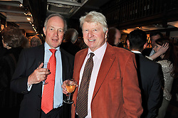 Left to right, PETER LILLEY MP and STANLEY JOHNSON at a party to celebrate the publication of Sandra Howard's new book - Ex-Wives held at Daunt Books, 83 Marylebone High Street, London W1 on 30th April 2012.