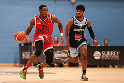 Fred Thomas of Bristol Flyers dribbles with the ball - Photo mandatory by-line: Arron Gent/JMP - 28/04/2019 - BASKETBALL - Surrey Sports Park - Guildford, England - Surrey Scorchers v Bristol Flyers - British Basketball League Championship