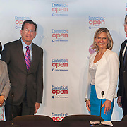 June 10, 2014, New Haven, Connecticut:<br /> (From left to right) New Haven Mayor Toni Harp, Connecticut Governor Dannel P. Malloy, Connecticut Open Tournament Director Anne Worcester, and Senior Vice President and General Counsel of United Technologies Corporation Charles Gill pose for a photograph after a press conference announcing a partnership between United Technologies and the Connecticut Open in New Haven, Connecticut Tuesday, June 10, 2014.<br /> (Photo by Billie Weiss/Connecticut Open)