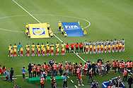 Ecuador (L) and France (R) line up for the national anthems during the 2014 FIFA World Cup Group E match at Maracana Stadium, Rio de Janeiro<br /> Picture by Andrew Tobin/Focus Images Ltd +44 7710 761829<br /> 25/06/2014