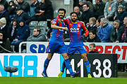 James Tomkins (#5) of Crystal Palace and Andros Townsend (#10) of Crystal Palace being to celebrate after Crystal Palace put the ball in the net but the goal is ruled offside during the Premier League match between Newcastle United and Crystal Palace at St. James's Park, Newcastle, England on 6 April 2019.
