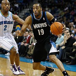 February 7, 2011; New Orleans, LA, USA; Minnesota Timberwolves guard Wayne Ellington (19) is guarded by New Orleans Hornets point guard Jarrett Jack (2) during the fourth quarter at the New Orleans Arena. The Timberwolves defeated the Hornets 104-92.  Mandatory Credit: Derick E. Hingle