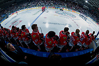 KELOWNA, CANADA - APRIL 7: The Portland Winterhawks stand at attention on the bench during the national anthem against the Kelowna Rockets on April 7, 2017 at Prospera Place in Kelowna, British Columbia, Canada.  (Photo by Marissa Baecker/Shoot the Breeze)  *** Local Caption ***