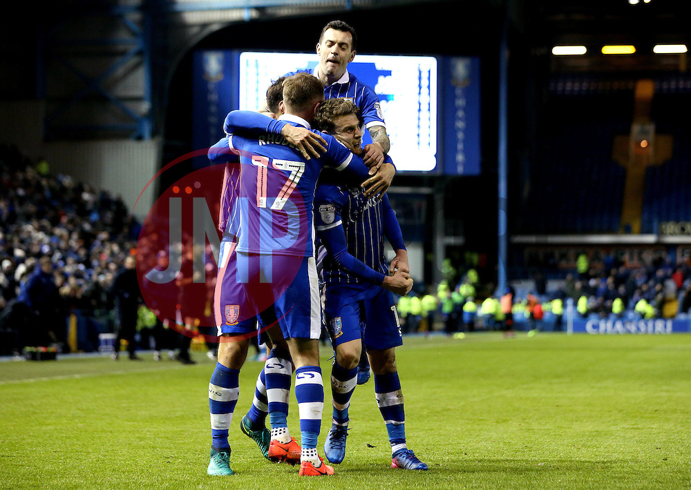 Sam Winnall of Sheffield Wednesday celebrates with teammates after scoring a goal to make it 2-0 - Mandatory by-line: Robbie Stephenson/JMP - 10/02/2017 - FOOTBALL - Hillsborough - Sheffield, England - Sheffield Wednesday v Birmingham City - Sky Bet Championship