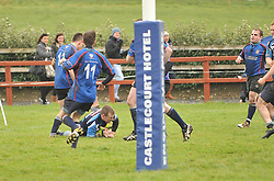 Castlebar's David Staunton touches down for the games's only try against Westport in the Junior Cup...Pic Conor McKeown