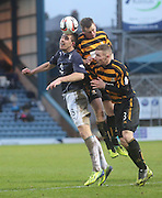 Aerial battle between Dundee's Declan Gallagher and Alloa Athletic's Stephen Simmons and Daryll Meggat - Dundee v Alloa Athletic, SPFL Championship at Dens Park<br /> <br />  - &copy; David Young - www.davidyoungphoto.co.uk - email: davidyoungphoto@gmail.com