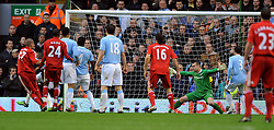 Martin Skrtel Scores 1st goal past Manchester City's Shay Given during the Barclays Premier League match between Liverpool and Manchester City at Anfield - 21/11/09