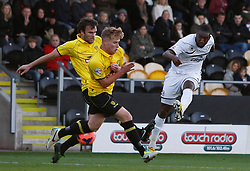 Hereford United's Michael Rankine shoots at goal - Photo mandatory by-line: Matt Bunn/JMP - Tel: Mobile: 07966 386802 10/11/2013 - SPORT - FOOTBALL - Pirelli Stadium - Burton upon Trent - Burton Albion v Hereford United - FA Cup