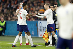 (L-R) Jordan Henderson of England, Marcus Rashford of England, Jamie Vardy of England during the International friendly match match between The Netherlands and England at the Amsterdam Arena on March 23, 2018 in Amsterdam, The Netherlands