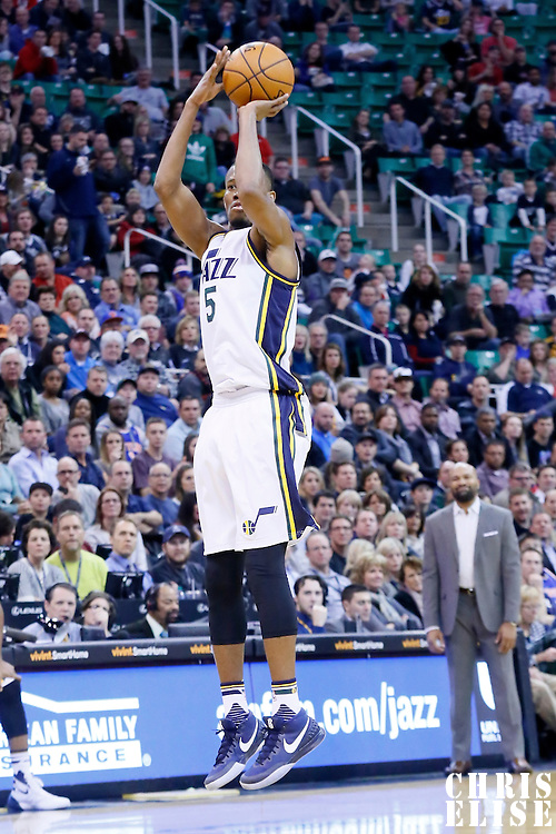 09 December 2015: Utah Jazz guard Rodney Hood (5) takes a jump shot during the Utah Jazz 106-85 victory over the New York Knicks, at the Vivint Smart Home Arena, Salt Lake City, Utah, USA.