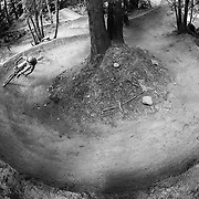 Zaid Elgawarsha and Andy Grant ride a circle burm in Bellingham Washington.