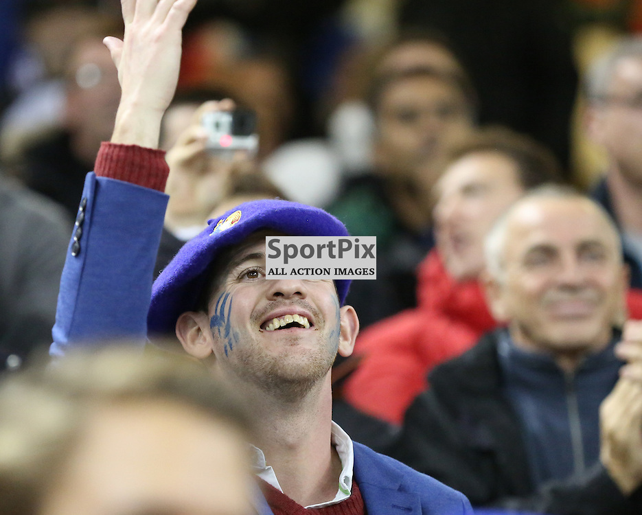 A French supporter celebrates France's first try during the Rugby World Cup Quarter Final, New Zealand v France, Saturday 17 October 2015, Millenium Stadium, Cardiff (Photo by Mike Poole - Photopoole)