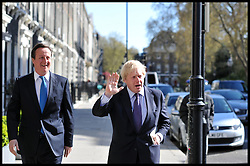 London Mayor Boris Johnson with the Prime Minister David Cameron during a visit to Central Working, London, during the Mayoral Campaign, London, UK, April 16, 2012. Photo By Andrew Parsons / i-Images.