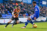 Bradford City midfielder Romain Vincelot (6) goes past Oldham Athletic forward Aaron Amadi-Holloway (10)  during the EFL Sky Bet League 1 match between Oldham Athletic and Bradford City at Boundary Park, Oldham, England on 28 January 2017. Photo by Simon Davies.