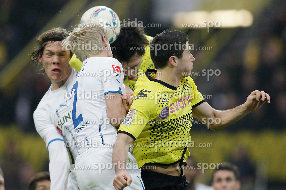 "28.01.2012, Signal Iduna Park, Dortmund, GER, 1. FBL, Borussia Dortmund vs 1899 Hoffenheim, 19. Spieltag, im Bild v.l. Kopfballduell zwischen Jannik Vestergaard (TSG 1899 Hoffenheim), Andreas Beck (TSG 1899 Hoffenheim), Mats Hummels (Borussia Dortmund) und Robert Lewandowski (Borussia Dortmund), Aktion // during the football match of the german ""Bundesliga"", 19th round, between GER, 1. FBL, Borussia Dortmund and 1899 Hoffenheim, at the Signal Iduna Park, Dortmund, Germany on 2012/01/28. EXPA Pictures © 2012, PhotoCredit: EXPA/ Eibner/ Oliver Vogler..***** ATTENTION - OUT OF GER *****"