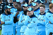 England are World Champions - Eoin Morgan of England waits with his players as the awards are handed out before the Cricket World Cup trophy lift during the ICC Cricket World Cup 2019 Final match between New Zealand and England at Lord's Cricket Ground, St John's Wood, United Kingdom on 14 July 2019.