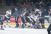 KELOWNA, CANADA - OCTOBER 22:  The Kelowna Rockets get tangled up with the Calgary Hitmen on October 22, 2013 at Prospera Place in Kelowna, British Columbia, Canada.   (Photo by Marissa Baecker/Shoot the Breeze)  ***  Local Caption  ***