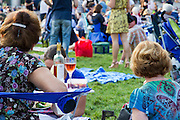 People enjoy an afternoon concert in Millennium park, Chicago, Illinois, USA