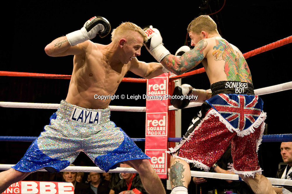 Gary Sykes defeats Dean Mills (red shorts) at the Harvey Hadden Leisure Centre 5th February 2010 Frank Maloney Promotion. Photo credit © Leigh Dawney