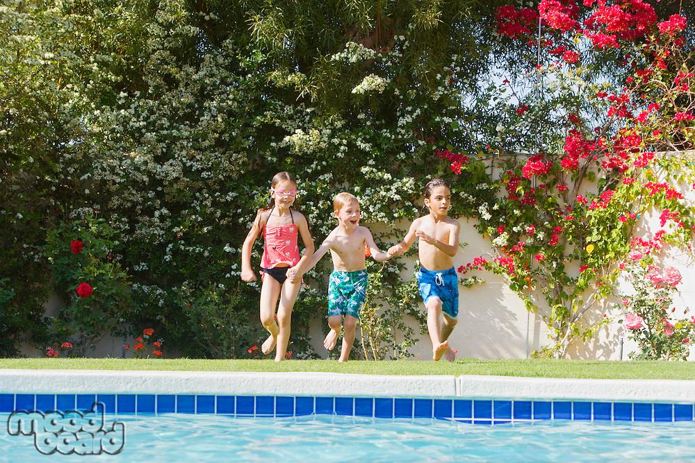 Kids Running Toward Swimming Pool