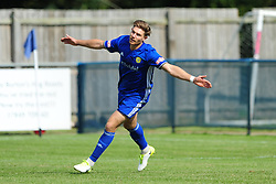 MARK JONES  PETERBOROUGH SPORTS SCORES AND CELEBRATES AFTER SCORING SPORTS IST GOAL IN 6 MINUTES,  Peterborough Sports v Stafford Rangers FA Cup 1st Qualyfying Round Saturday 2nd September 2017.<br /> Score 3-4 Phot:Mike Capps