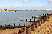 River Deben estuary mouth with North Sea between Bawdsey and Felixstowe Ferry, Suffolk, England, UK