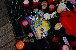 August 18, 2017 - Barcelona, Catalonia, Spain - Flowers and candles stand in Las Ramblas of Barcelona, Spain, on 18 August 2017, to pay tribute to the victims a day after a van ploughed into the crowd, killing 14 persons and injuring over 100. (Credit Image: © Jordi Boixareu/NurPhoto via ZUMA Press)