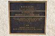 Landmark plaque at Manzanar National Historic Site, Lone Pine, California USA