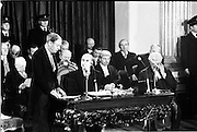 Inaugeration of Cearbhall O'Dalaigh as President  (H77).1974..19.12.1974..12.19.1974..19th December 1974..Following the sudden death of President Erskine Childers, Mr Cearbhall O'Dalaigh was nominated by The Fianna Fail party as its candidate to replace him. The Fine Gael /Labour coalition government did not oppose the nomination and Mr O'Dalaigh was elected un-opposed on a joint party agreement...Image of An Taoiseach,Mr Liam Cosgrave TD reading his speech,congratulating, on behalf of his government, Mr O'Dalaigh on his election as President of Ireland.
