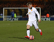 Manchester United's Luke Shaw during the The FA Cup match between Cambridge United and Manchester United at the R Costings Abbey Stadium, Cambridge, England on 23 January 2015. Photo by Phil Duncan.