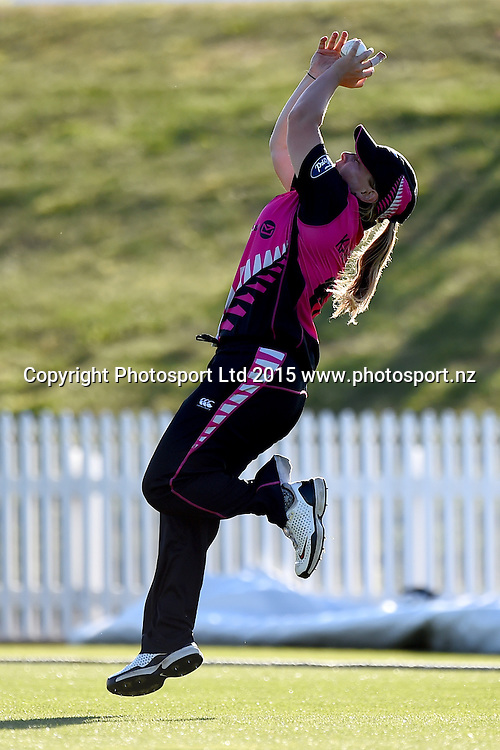 White Ferns player Leigh Kasperek takes a catch during the 2nd Twenty20 cricket match between White Ferns v Sri Lanka. Saxton Oval, Nelson, New Zealand. Friday 20 November 2015. Copyright Photo: Chris Symes / www.photosport.nz