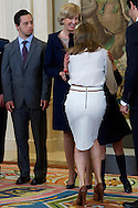 Princess Letizia of Spain attends an audience to a representation of the 'Down Syndrome Foundation of Madrid' at Zarzuela Palace on April 9, 2014 in Madrid