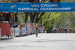 With 1 lap to go, the field is closing in on Ben King (Virginia Polytechnic University). The 2008 USA Cycling Collegiate National Championships Road Race men's division 2 event was held near Fort Collins, CO on May 9, 2008.