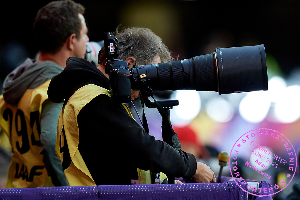 Great Britain, London - 2017 August 11: Photographer with Nikon cameras works during IAAF World Championships London 2017 Day 8 at London Stadium on August 11, 2017 in London, Great Britain.<br /> <br /> Mandatory credit:<br /> Photo by &copy; Adam Nurkiewicz<br /> <br /> Adam Nurkiewicz declares that he has no rights to the image of people at the photographs of his authorship.<br /> <br /> Picture also available in RAW (NEF) or TIFF format on special request.<br /> <br /> Any editorial, commercial or promotional use requires written permission from the author of image.