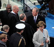 Former President George W Bush and Chief Justice John Roberts before Donald Trump takes the oath of office for the presidency of the United States on January 20,2017<br /> <br /> Photo by Dennis Brack