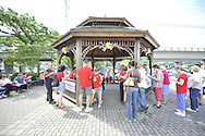 Independence Day annual reading of the Declaration of Independence on Wednesday, July 4, 2012, held by Historical Society of the Merricks, Long Island, New York, USA. Volunteers each read one line from the historic document in this Long Island tradition at the Merrick Gazebo by the train station.