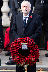 © Licensed to London News Pictures. 12/11/2017. London, UK. British Labour party leader JEREMY CORBYN attends a Remembrance Day Ceremony at the Cenotaph war memorial in London, United Kingdom, on November 13, 2016 . Thousands of people honour the war dead by gathering at the iconic memorial to lay wreaths and observe two minutes silence. Photo credit: Ray Tang/LNP