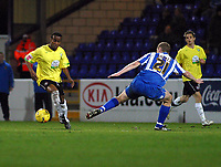 Photo: Dave Linney.<br />Chester City v Hereford United. Coca Cola League 2. 27/02/2007. Hreford's Danny Thomas(L) skips past Dave Artell.