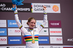 New World Champion, Karlijn Schwinkels (NED) at the 13.7 km Junior Women's Individual Time Trial, UCI Road World Championships 2016 on 10th October 2016 in Doha, Qatar. (Photo by Sean Robinson/Velofocus).