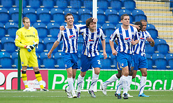 COLCHESTER, ENGLAND - Saturday, September 25, 2010: Colchester United's Anthony Wordsworth (C) celebrates after making it 2-0 during the League One match against TranmereRovers at the Colchester Community Stadium. (Photo by Gareth Davies/Propaganda)