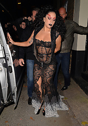 Singer Lady Gaga wearing a black lace dress leaving Guy Ritchie's pub 'The Punch Bowl' in Mayfair, London, UK. 22/10/2014<br />BYLINE MUST READ : GOTCHAIMAGES.COM<br /><br />Copyright by © Gotcha Images Ltd. All rights reserved.<br />Usage of this image is conditional upon the acceptance <br />of Gotcha Images Ltd, terms and conditions available at<br />www.gotchaimages.com