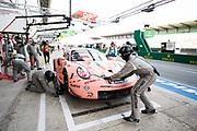 June 16-17, 2018: 24 hours of Le Mans. 92 Porsche GT Team, Porsche 911 RSR, Michael Christensen, Kevin Estre, Laurens Vanthoor , Pink Pig Porsche throwback livery