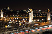 View of Pont Alexandre III, Paris at night Long exposure view of the lights of Pont Alexandre III, Paris at night