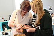 Natasha and Mary Lorenz enjoy looking at jewelry at the annual Dairy Barn Fest during the 2014 Mom's Weekend at Ohio University.